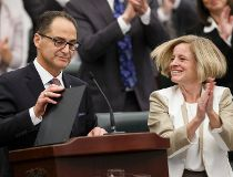 Finance Minister Joe Ceci and Premier Rachel Notley