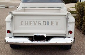 During the evening of October 15th or early morning of October 16th an unknown person(s) broke into the fenced compound of a local business and stole a tailgate from a 1957 Chevrolet truck.  The tailgate was white in colour with raised chromed lettering. Photo courtesy of the RCMP.