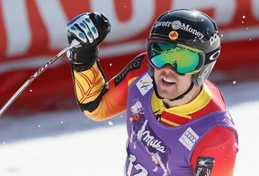 Canadian skier Dustin Cook reacts in the arrival area in the men's Super G race at the Alpine Skiing World Cup Finals in Meribel, France on March 19, 2015. (Robert Pratta/Reuters)
