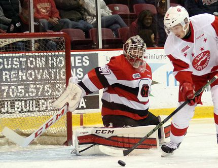 Soo Greryhounds forward Zachary Senyshyn moves the puck in on Ottawa 67's goaltender Leo Lazarev durIng first-period action Friday, Oct. 30, 2015 at Essar Centre in Sault Ste. Marie, Ont. JEFFREY OUGLER/SAULT STAR/POSTMEDIA NETWORK