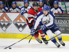 Sudbury Wolves Patrick Murphy handles the puck during OHL action against the Ottawa 67's in Sudbury, Ont. on Sunday November 1, 2015. Gino Donato/Sudbury Star/Postmedia Network