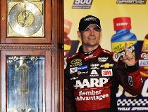 Jeff Gordon, driver of the #24 AARP Member Advantages Chevrolet, poses in Victory Lane after winning the NASCAR Sprint Cup Series Goody's Headache Relief Shot 500 at Martinsville Speedway on November 1, 2015 in Martinsville, Virginia.   Jonathan Moore/Get