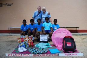 Chris and Gail Hills, long-term residents of Tuckersmith Township display the bed kits from the Sleeping Children Around The World organization. The couple has been part of the charity association for decades this year they focused on families in Sri Lanka.(Contributed photo)