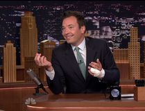 Jimmy Fallon returns to the Tonight Show on July 13, 2015 after injuring his finger. (Handout)