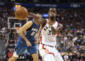 Toronto Raptors guard Terrence Ross (31) passes the ball against the Minnesota Timberwolves at the Air Canada Centre. (Tom Szczerbowski/USA TODAY Sports)
