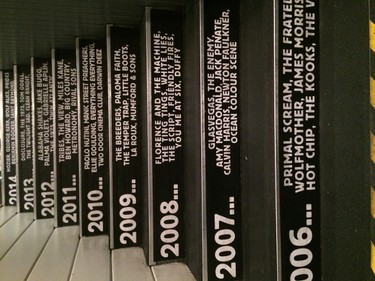 Stairs at King Tut's Wah Wah Hut are a musical timeline of bands who have played there over the years. PHOTO COURTESY GLASGOW CITY MUSIC TOURS