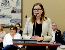 Meg Plooy, executive director of the Downtown Brockville Business Improvement Area (DBIA), speaks to city council's planning committee in this 2015 file photo. (FILE PHOTO)