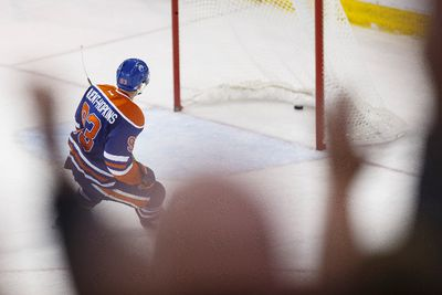 Edmonton centre Ryan Nugent-Hopkins (93) scores an empty net goal during the third period of a NHL game between the Edmonton Oilers and the Philadelphia Flyers at Rexall Place in Edmonton, Alta. on Tuesday November 3, 2015. Ian Kucerak/Edmonton Sun/Postmedia Network