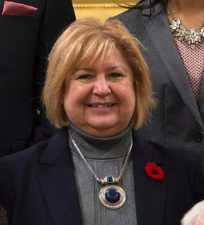 MaryAnn Mihychuk, Minister of Employment, Workforce Development and Labouris seen during a group photo after being sworn in Wednesday Nov.4, 2015 in Ottawa. THE CANADIAN PRESS/Justin Tang