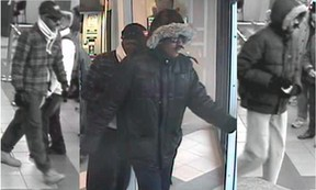 Ottawa Police are seeking these three suspects after a Montreal Rd., bank robbery on Oct. 30. (Submitted image, Ottawa Police)