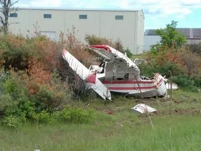 A plane crashed on Hwy. 11 near Muskoka Airport Friday afternoon. (Stefan Ottenbrite/SUPPLIED)