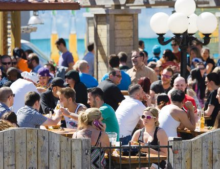 Patrons pack the patio at The Ceeps in London. (Free Press file photo)