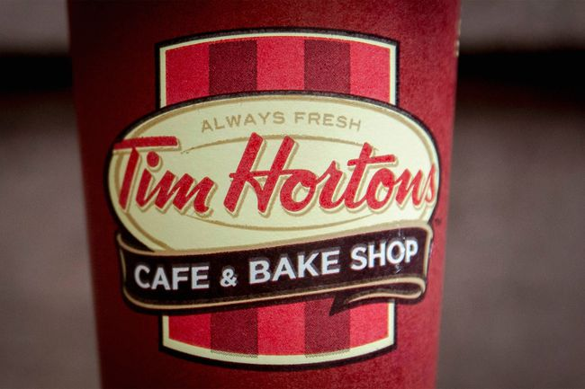 A Tim Hortons coffee cup.  REUTERS