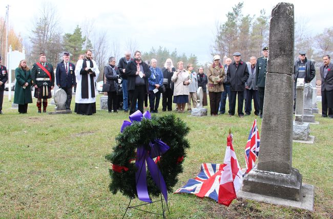 <p>Onlookers and dignitaries assemble at the St. George Cemetery near Gallingertown for the George Gallinger Jr. War of 1812 Veteran Marker Unveiling Ceremony on Saturday November 7, 2015 in South Stormont, Ont.</p><p> Greg Peerenboom/Cornwall Standard-Freeholder/Postmedia Network