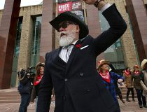 City Coun. Scott McKeen gets some line dancing lessons during rodeo