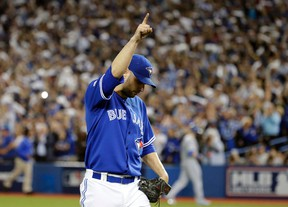 Marco Estrada of the Toronto Blue Jays leaves the game against the Kansas City Royals during Game 5 of the American League Championship Series at the Rogers Centre in Toronto on Oct. 21, 2015. (Craig Robertson/Toronto Sun/Postmedia Network)