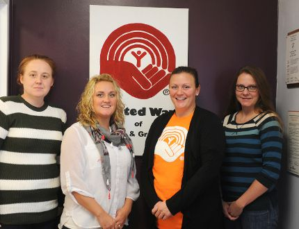 Melissa McCabe, left, Crystal Sled, Melissa Hillier and Jenny Waite, of the United Way of Leeds and Grenville, are shown in this file photo. (FILE PHOTO)