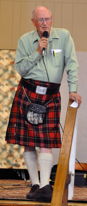 Mitchell & District Agricultural Society President David Kemp, dressed in a kilt, offered thanks to those donors for contributing to the Crystal Palace renovation during an open house Sunday, Nov. 15. ANDY BADER/MITCHELL ADVOCATE