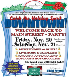 Get yourself in the holiday spirit by participating in the Mitchell downtown street party this Friday, Nov. 20 and Saturday, Nov. 21.