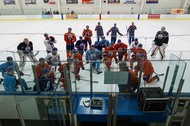 Players listen to head coach Todd McLellan speak during an Edmonton Oilers practice at Clareview Recreation Centre in Edmonton, Alta., on Monday November 16, 2015. The Oilers play the Chicago Blackhawks at Rexall Place on Nov. 18, 7:30 p.m. Ian Kucerak/Edmonton Sun/Postmedia Network