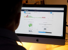Real-time data showing in-home energy consumption is seen on the Bidgely customer interface at a home in London. (CRAIG GLOVER, The London Free Press)