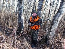 Neil Waugh in a deer stand.