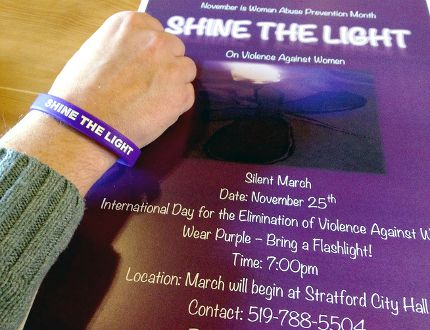 The Stop Violence Against Women Committee of Perth County has organized a silent march Wednesday at 7 p.m., starting at Stratford City Hall, as part of the Shine the Light On Violence Against Women campaign. (BRUCE URQUHART, Beacon Herald)