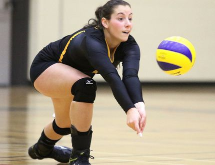 Cambrian Golden Shield women's volleyball team member Amanda Kring bumps the ball during OCAA women's volleyball action against Conestoga College in Sudbury, Ont. on Sunday November 22, 2015. Cambrian defeated Conestoga in 3 sets.