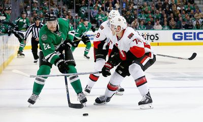 DALLAS, TX - NOVEMBER 24: Colton Sceviour #22 of the Dallas Stars controls the puck against Mark Borowiecki #74 of the Ottawa Senators and Milan Michalek #9 of the Ottawa Senators in the first period at American Airlines Center on November 24, 2015 in Dallas, Texas.   Tom Pennington/Getty Images/AFP == FOR NEWSPAPERS, INTERNET, TELCOS & TELEVISION USE ONLY ==