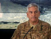 U.S. Army General John Campbell, the commander of international and U.S. forces in Afghanistan, speaks during a news conference at Resolute Support headquarters in Kabul, Afghanistan, November 25, 2015. The U.S. investigation into a deadly Oct. 3 strike on a hospital run by Medecins Sans Frontieres in the northern Afghan city of Kunduz concluded it was a tragic accident caused primarily by human error, Campbell said on Wednesday. REUTERS/Massoud Hossaini/Pool
