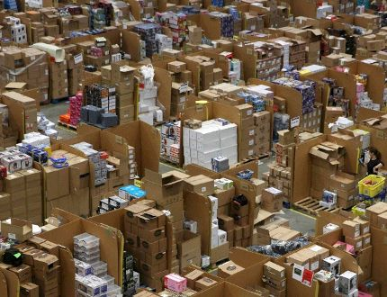 Amazon warehouse preparing shipments for Black Friday sales. REUTERS