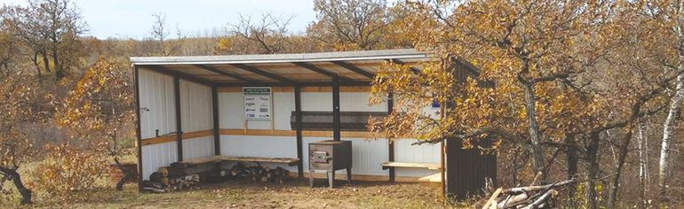 One of the two new shelters built by the PORVC at the Portage Sandhills is shown. (Photo courtesy Portage Off Road Vehicle Club)