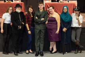 Submitted photo: The cast and crew of the play Murder at the Banquet pose for a picture during a recent rehearsal. The murder-mystery will hit the stage on Nov. 28-29 at the Wallaceburg Museum Jeanne Gordon Theatre. This will be the first performance for the Glasstown Players theatre group.