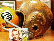 Nov 7, 2006. A Jackie Parker trading card sits leaned against a football helmet as part of an Eskimo locker display decorated with memorabilia from Parker's playing days after the news of the Eskimo great's death on Nov. 7, 2006, he was 74.