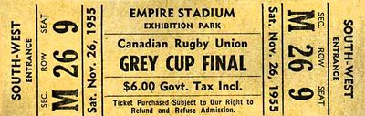 A ticket for the 1955 Grey Cup, cost, $6.00 CND. The 43rd Grey Cup game was between the Edmonton Eskimos and the Montreal Alouettes played on Nov. 26, 1955, in front of 39,417 football fans at Empire Stadium in Vancouver, B.C., seeing the Eskimos win the game 34 to 19. The Eskimos won the 1954, 1955 and 1956 championship games.  Photo Courtesy/CFL