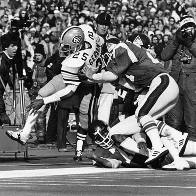 1978 Grey Cup. Edmonton Eskimos bruising running back Jim Germany rumbles down the field during action in the 66th Grey Cup against the Montreal Alouettes on Nov. 26, 1978, in front of 54,695 fans at Exhibition Stadium in Toronto, Ont. The Eskimos beat the Alouettes 20-13. Photo Courtesy/Canadian Football Hall of Fame
