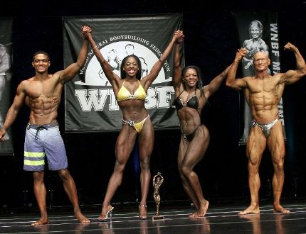 The Annett family, from left, Tyler, Bosia, Bridgett and Dean, celebrate Bosia earning her professional bodybuilding card at the World Natural Bodybuilding Federation's world championships in Atlantic City, N.J. Nov. 13-14. All four m