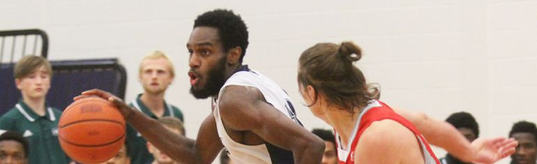 Dave Dale/The Nugget   Marcus Lewis scored 25 points to lead the Nipissing Lakers men's basketball team to its first ever OUA win with a convincing 71-56 decision over the visiting Algoma Thunderbirds, Friday.