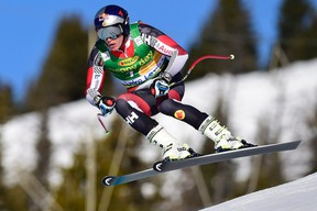 Erik Guay of Canada, skis during the men's World Cup Super-G in Lake Louise, Alta., on Sunday, Nov. 29, 2015. THE CANADIAN PRESS/Frank Gunn