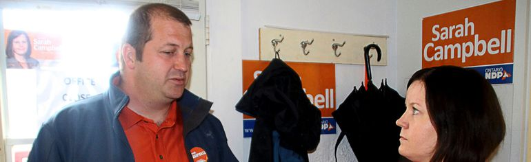 James Nowe, a corrections officer and president OPSEU Local 719, speaking with NDP MPP Sarah Campbell during the 2014 provincial election campaign. FILE PHOTO