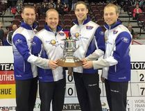 Brad Gushue, Marck Nichols, Brett Gallant and Beaverlodge's Geoff Walker will be competing at the Canada Cup of Curling in Grande Prairie this week.Photo Courtesy of Team Gushue