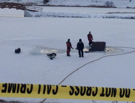 The OPP Underwater Search and Recovery Unit (USRU) was at Commando Lake in Cochrane Tuesday afternoon to assist with the removal of the vehicle that plunged into the frozen lake. The lone occupant, a 75-year-old Cochrane woman, was taken to hospital and pronounced dead.
