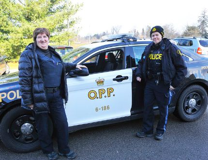 Norfolk County OPP has teamed with the Community Addictions and Mental Health Services of Haldimand Norfolk (CAMHS) to create the Norfolk Mobile Rapid Response Team. These days, a mental health professional like Betty McKenzie (left) rides alongside constables like Ali Thomson (right) on calls possibly related to mental health. (JACOB ROBINSON Simcoe Reformer)