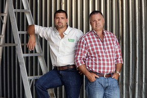 Curtis and Rick Van Laecke (from left to right) as they appear in the Faces of Farming 2016 calendar. (Terry Scott White/Submitted)