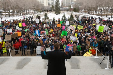 Wildrose Party leader Brian Jean speaks during an anti-Bill 6 rally put on by the Wildrose Party in front of the Alberta Legislature in Edmonton, Alta., on Thursday, December 3, 2015. Bill 6, the Enhanced Protection for Farm and Ranch Workers Act, has proven controversial with farmers and ranchers in the province. Ian Kucerak/Edmonton Sun/Postmedia Network