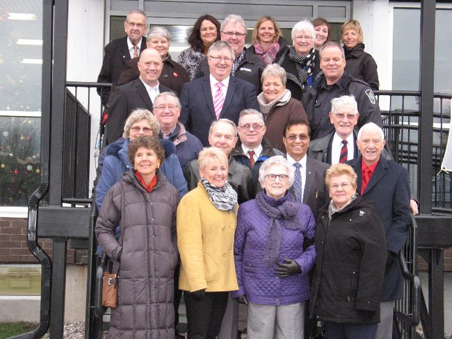 <p>Over 15 former citizens of the year in Cornwall - many of them on the steps with Agape Centre staff - rallied in support of the $1 million capital campaign