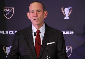 MLS commissioner Don Garber speaks during a press conference at the Greater Columbus Convention Center in advance of the MLS Cup championship game between the Portland Timbers and Columbus Crew. Jason Mowry-USA TODAY Sports