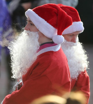 The Salvation Army's Santa Shuffle took place in Winnipeg today.  Participants dressed in festive costumes and ran 5KM, or walked 1Km, it is an annual event, the run began at The Forks. Saturday, December 5, 2015.   Sun/Postmedia Network
