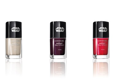 """This photo provided by COVERGIRL shows Star Wars nail gloss in Speed of Light, Nemesis and Red Revenge. """"Star Wars: The Force Awakens"""" opens in U.S. theaters on Dec. 18, 2015, and it's bringing a galaxy of new merchandise with it, from Chewbacca coffee creamers (Wookies drink coffee?) to """"Star Wars"""" cosmetics.  (COVERGIRL  via AP)"""