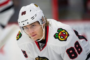 Chicago Blackhawks winger Patrick Kane catches his breath during a break in the action against the Ottawa Senators at the Canadian Tire Centre. (Marc DesRosiers/USA TODAY Sports)